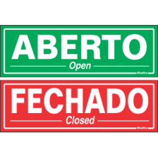 PLACA SINALIZE 20x30 - ABERTO / FECHADO